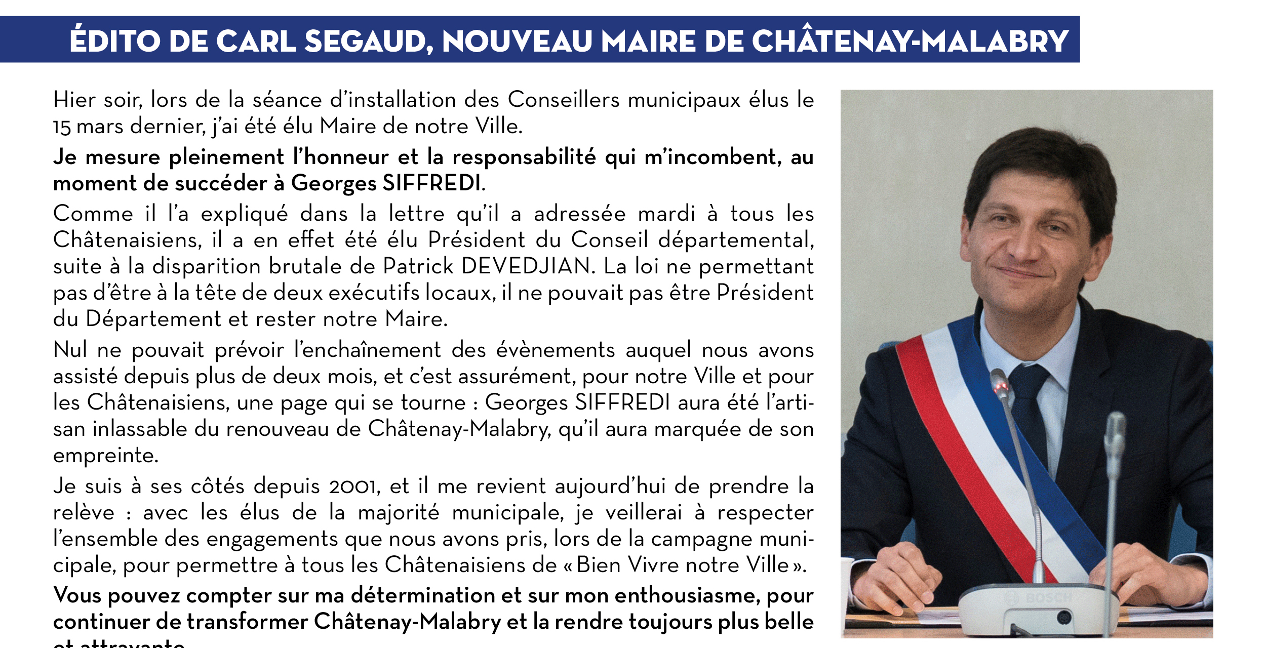 Édito de Carl Segaud, nouveau Maire de Châtenay-Malabry