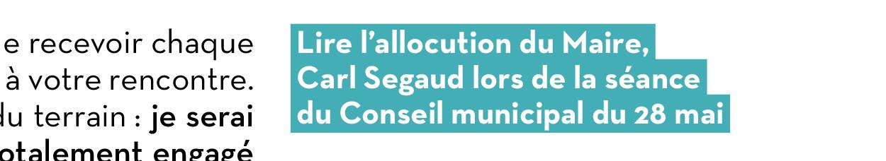 Lire l'allocution du Maire, Carl Segaud lors de la séance du Conseil municipal du 28 mai