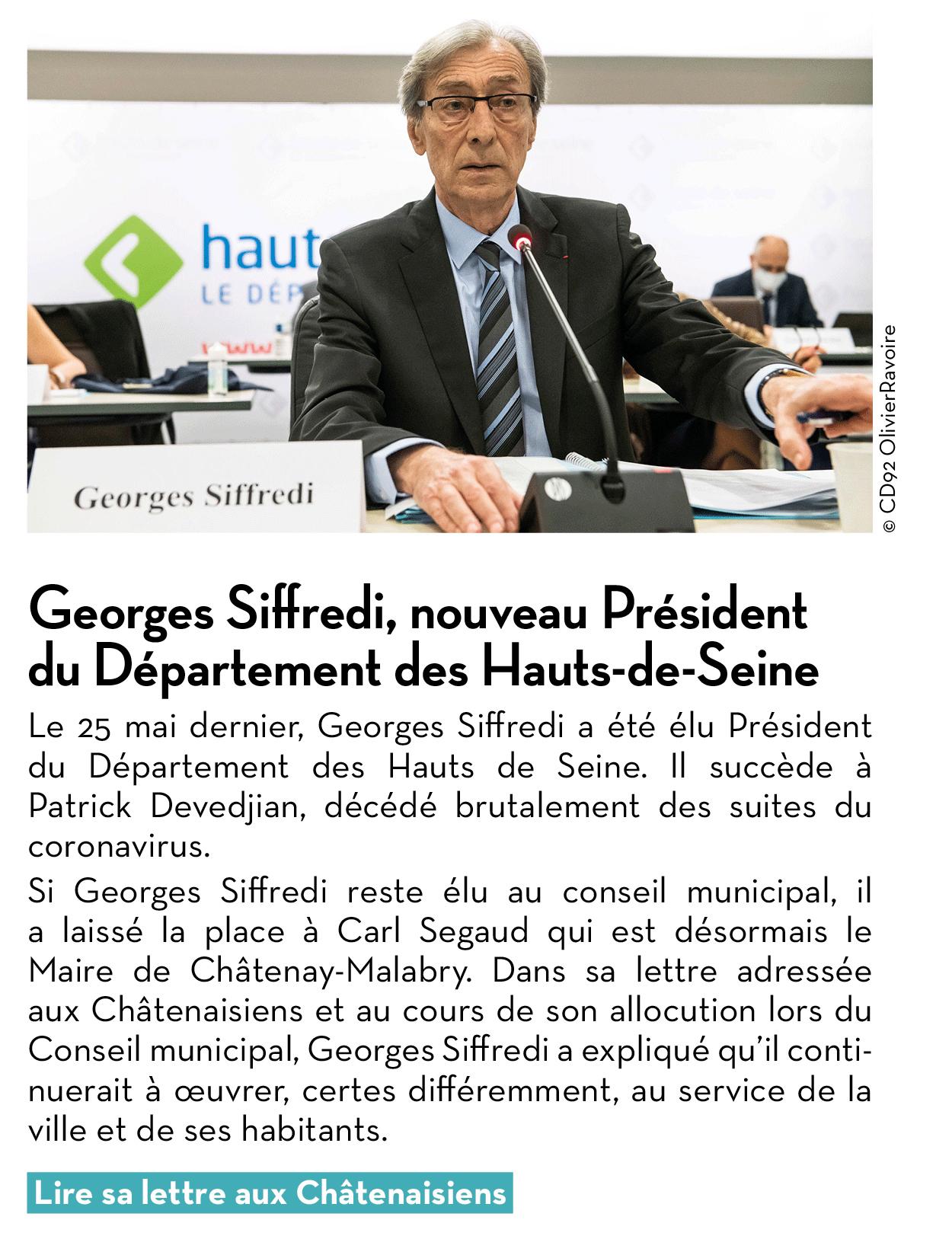 Georges Siffredi, nouveau Président du Département des Hauts-de-Seine