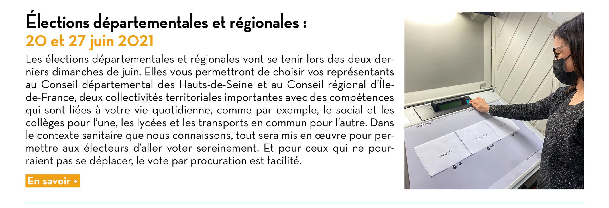 Élections départementales et régionales : 20 et 27 juin 2021