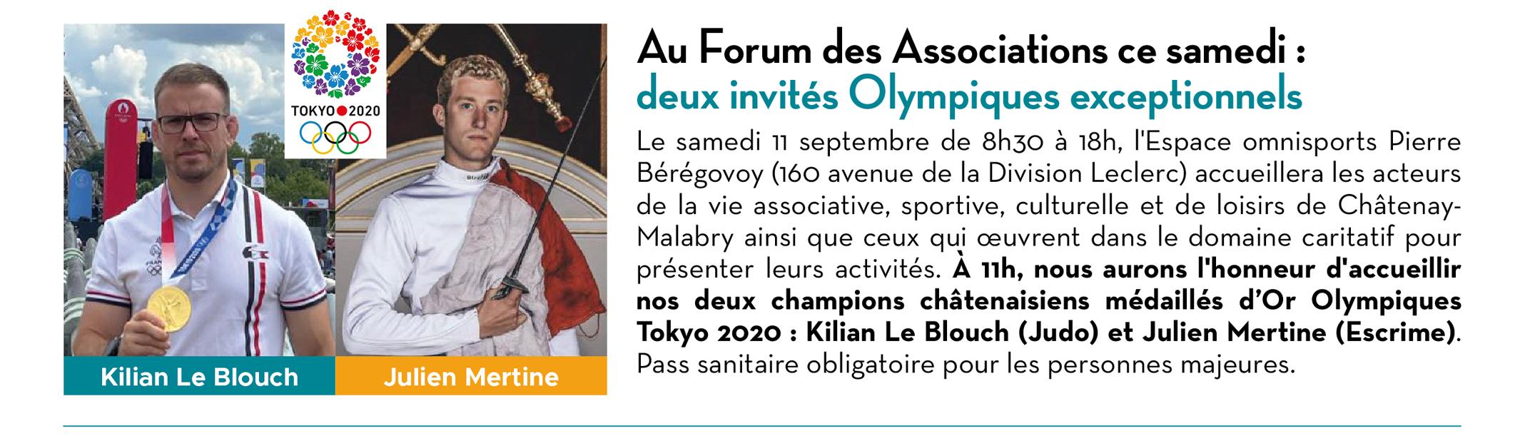 Au Forum des Associations ce samedi : deux invités Olympiques exceptionnels