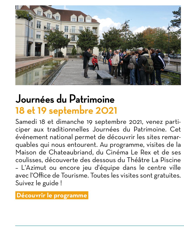 Journées du Patrimoine : 18 et 19 septembre 2021